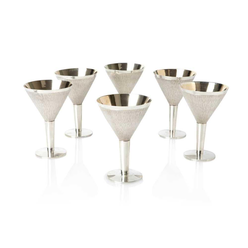 Gerald Benney C.B.E. (British 1930-2008) Six Cocktail Glasses, London 1966