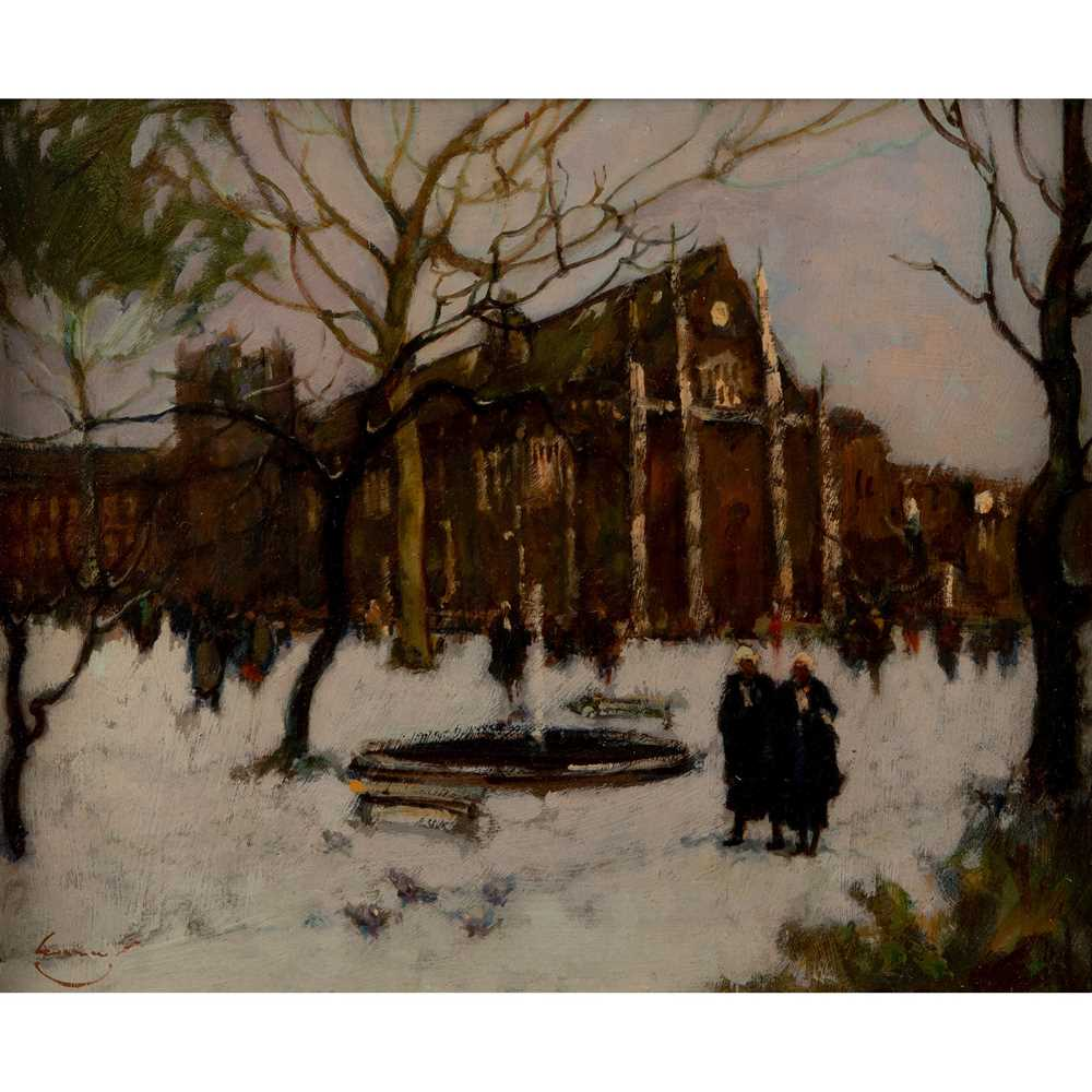 Ken Moroney (British 1949-2018) The Inner Temple in the Snow