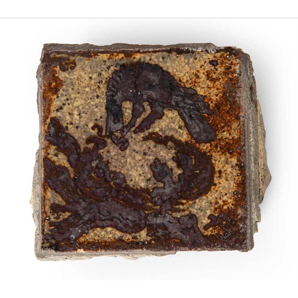 Bernard Leach (British 1887-1979) 'Bird on Nest' Tile