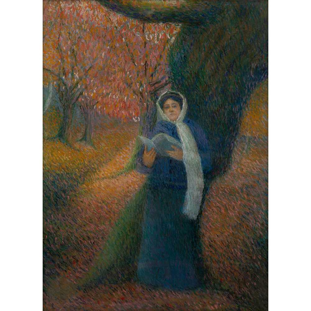 Achille Laugé (French 1861-1944) Lady Reading in Autumnal Landscape
