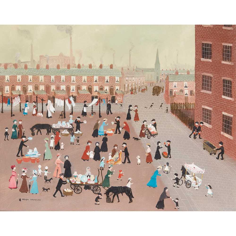 Helen Bradley M.B.E. (British 1900-1979) Oh! The Pot Market's Arrived
