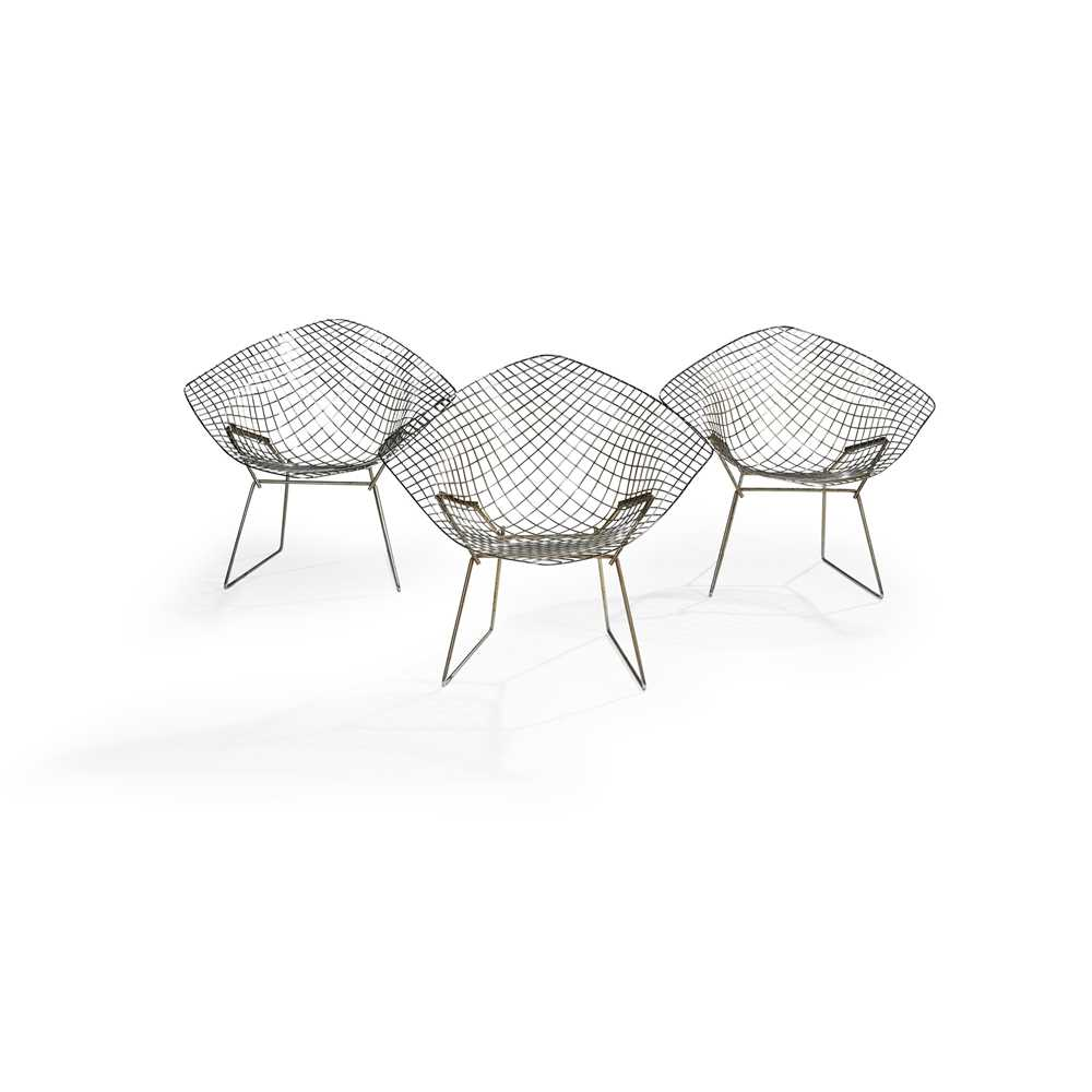 Harry Bertoia (American 1915-1978) Set of Four Diamond Chairs - Image 2 of 13