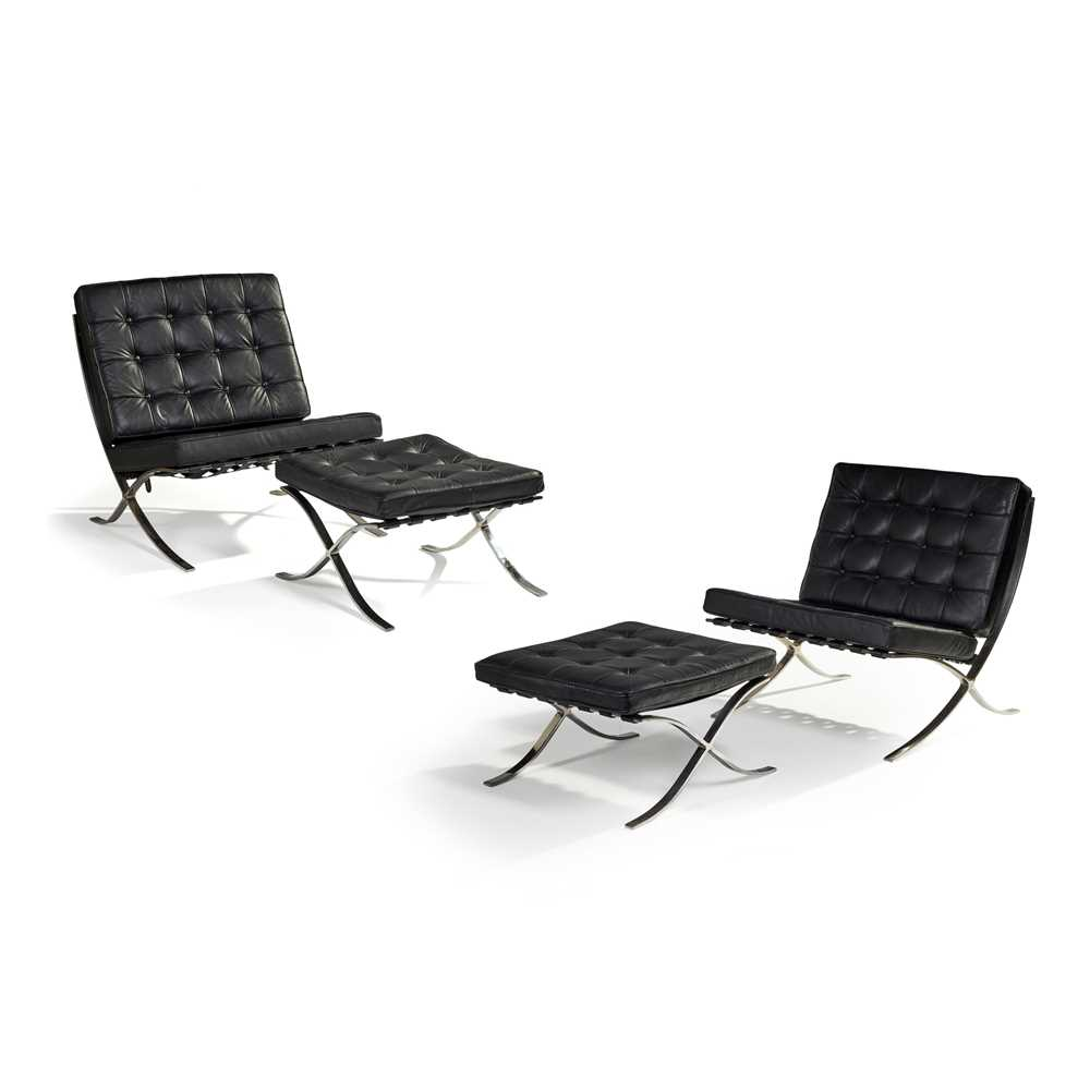 Ludwig Mies van der Rohe (German 1886-1969) Pair of 'Barcelona' Chairs & Ottomans - Image 3 of 25