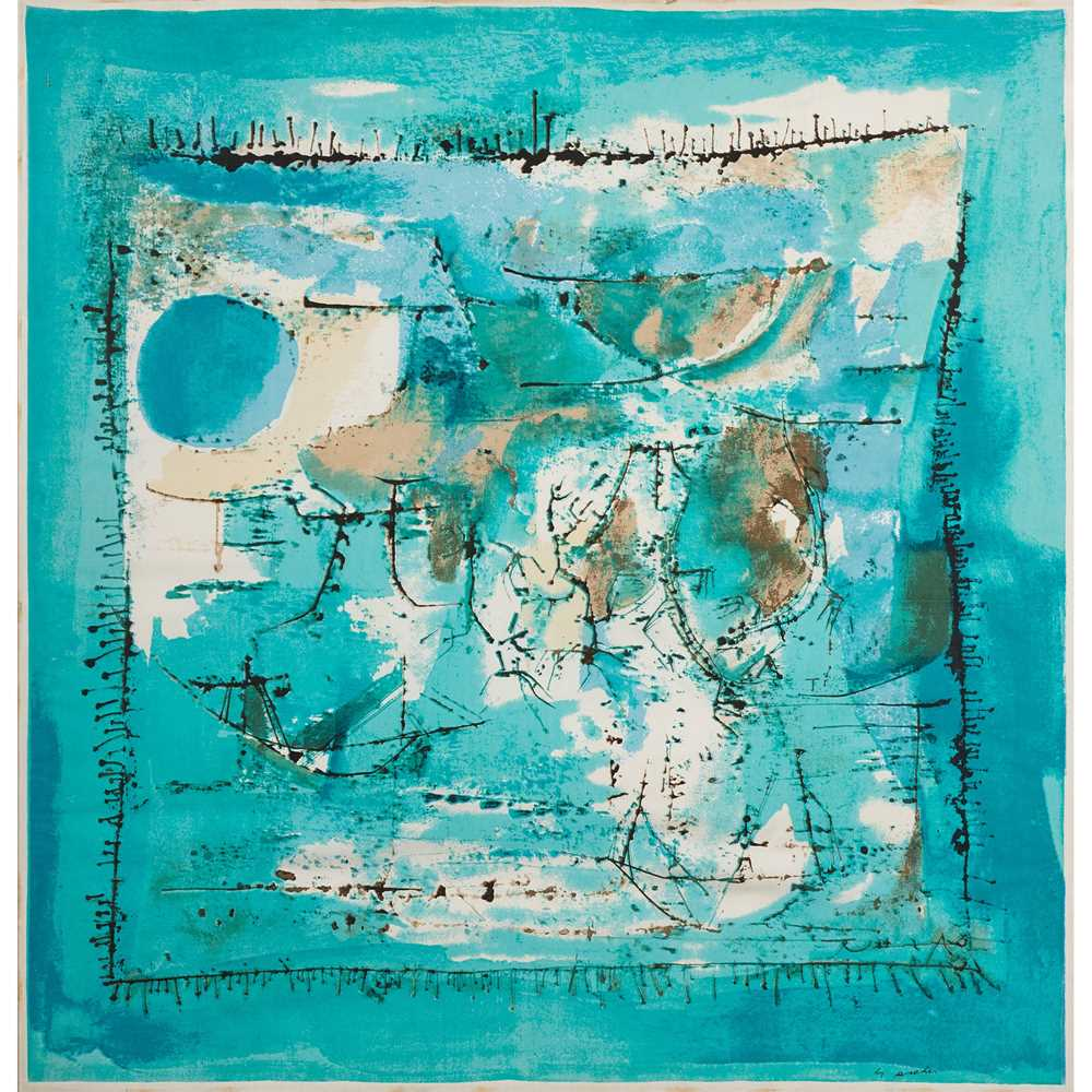 Zao Wou-Ki (Chinese / French 1921-2013) for Ascher 'Paysage Bleu' Scarf / Square, designed 1955