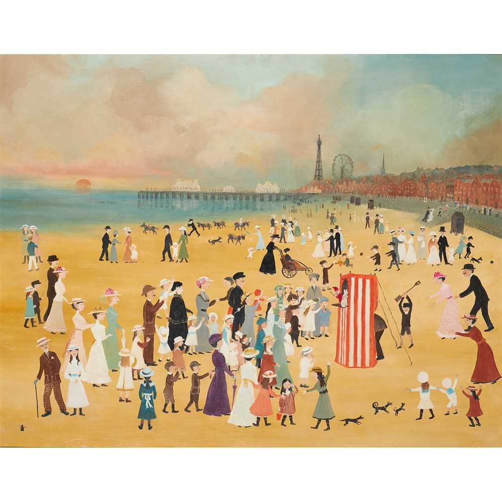 Helen Bradley M.B.E. (British 1900-1979) Blackpool Sands with Punch and Judy Show