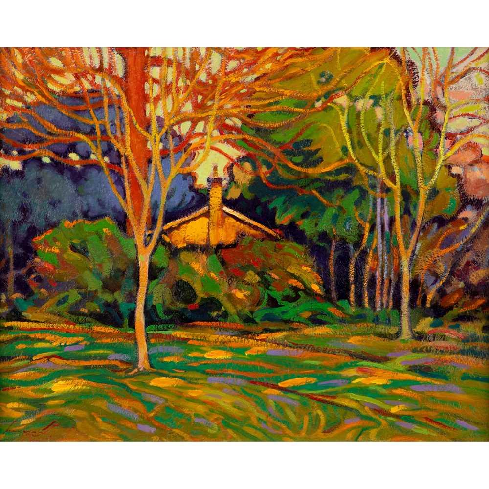 Ken Moroney (British 1949-2018) Cottage in the Park