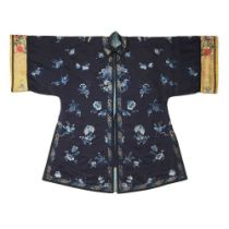 MIDNIGHT-BLUE-GROUND SILK EMBROIDERED LADY'S OVERCOAT LATE QING DYNASTY-REPUBLIC PERIOD, 19TH-20TH C