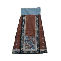 HAN CHINESE WOMAN'S EMBROIDERED PERSIMMON SILK PLEATED SKIRT LATE QING DYNASTY-REPUBLIC PERIOD, 19TH