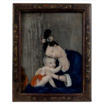 REVERSE GLASS MIRROR PAINTING OF MOTHER AND CHILD QING DYNASTY, 18TH-19TH CENTURY
