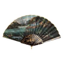 CANTON LACQUERED AND PAPER 'LANDSCAPE' FAN QING DYNASTY, MID-19TH CENTURY