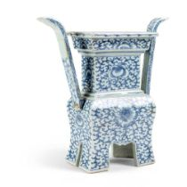 BLUE AND WHITE 'DING' CENSER QING DYNASTY, JIAQING PERIOD