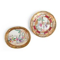 TWO GILT-DECORATED CANTON FAMILLE ROSE PLATES QING DYNASTY, 18TH-19TH CENTURY