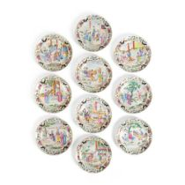 GROUP OF TEN FAMILLE ROSE 'LADY'S LIFE' DISHES QING DYNASTY, 18TH-19TH CENTURY