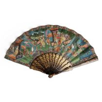 CANTON LACQUERED AND PAPER 'THOUSAND FACES' FAN QING DYNASTY, 19TH CENTURY