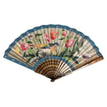 LARGE LACQUERED AND PAPER 'BIRD WITH FLOWER' FAN QING DYNASTY, MID-19TH CENTURY