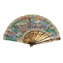 CANTON LACQUERED AND PAPER 'BIRDS AND FLOWERS' ARTICULATED FAN QING DYNASTY, MID-19TH CENTURY