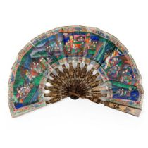 CANTON LACQUERED AND PAPER 'TELESCOPIC' FAN QING DYNASTY, MID-19TH CENTURY