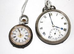 A ladies silver fob watch and a gentleman's silver pocket watch (both need attention)