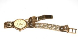 A ladies 9ct gold Accurist wristwatch, with stone at 12 o'clock