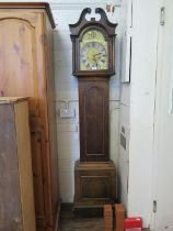 """An early 20th century oak longcase clock, the swan neck pediment over a brass 10"""" dial with matted"""
