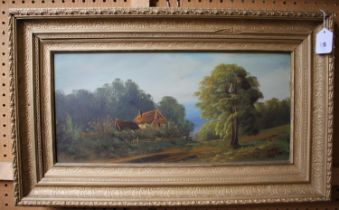 Late 19th century English School A pair of pastoral landscapes oil on canvas unsigned 34 x 44 cm and