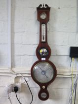 An early 19th century mahogany and boxwood inlaid banjo barometer, inscribed D. Arnoldi, Gloucester,