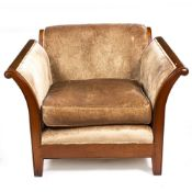 A LARGE UPHOLSTERED ARMCHAIR with sleigh arms and square tapering legs, 111cm wide x 103cm deep x