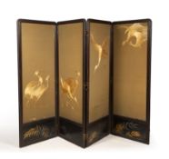 A LATE 19TH / EARLY 20TH CENTURY JAPANESE FOUR FOLD SCREEN with black lacquered frame, the panels