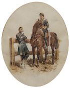 ORLANDO NORIE (1832-1901) British Hussars in mess kit, watercolour, unsigned, 17cm x 13cm (oval)