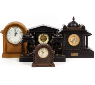 TWO LATE 19TH CENTURY SLATE MANTLE CLOCKS and two further mantle clocks, the largest 44cm wide x