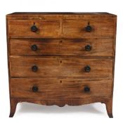 A 19TH CENTURY MAHOGANY CHEST OF TWO SHORT AND THREE LONG DRAWERS with turned ebonised handles and