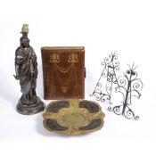 A 19TH CENTURY GILT METAL AND BRONZED CAST SPELTER STAND each corner decorated with various game,