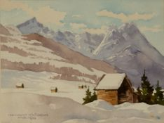 HERMANN KAUSCHKE Alpspize u. Wexenstein, watercolour, signed lower left and dated 1938, 15cm x 19.