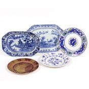 TWO ANTIQUE CHINESE BLUE AND WHITE PORCELAIN OCTAGONAL DISHES the largest 35cm x 26cm; a Victorian