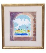 TREVOR STUBLEY (1932-2010) 'She left as a bright white dove', gouache and pastels, unsigned, 31cm