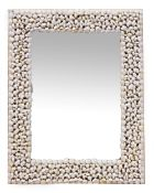 A MODERN SHELL ENCRUSTED RECTANGULAR WALL MIRROR 56cm x 71cm Condition: in good condition, some