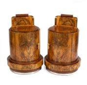 A PAIR OF ART DECO STYLE BURR WALNUT VENEERED CYLINDRICAL BEDSIDE CABINETS each 60cm wide x 47cm