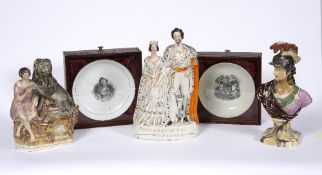 TWO PORCELAIN BOWLS late 18th or early 19th century, commemorating the lift of Princess Charlotte,