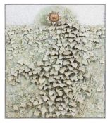 BARRY KIRK (1933) Ivy wall with white flower, paint and mixed media, 86cm x 73cm with a chrome frame