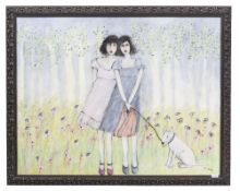C.OSTROM Sisters with a bulldog, oil on canvas, 89cm x 115cm, mounted in a modern moulded