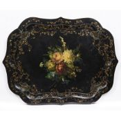 A VICTORIAN PAPIER MACHE TRAY with flower decoration and serpentine edge, 79cm wide x 61cm deep