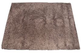 A CONTEMPORARY BROWN WOOLLEN RUG 210cm x 280cm Condition: needs cleaning, wear in areas