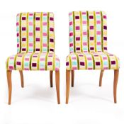 A PAIR OF PORADA CONTEMPORARY UPHOLSTERED CHAIRS each 50cm wide x 60cm deep x 81cm high (2)