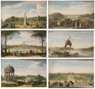 A SET OF SIX HAND COLOURED ENGRAVINGS to include a view of The Queen's Theatre at Stow with the