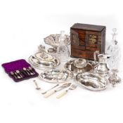 A CASED SET OF SIX SILVER TEASPOONS, a collection of silver plated wares to include two entree