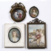 AFTER HOPPNER The Bowden Children, oils on ivorine panel, miniature, with scratched name 'Hoppner'
