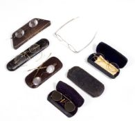 A SET OF 19TH CENTURY SILVER SPECTACLES with extending arms together with five further pairs of 19th