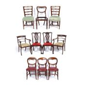A GROUP OF TEN VARIOUS DINING CHAIRS to include two armchairs, a pair of Chippendale style dining