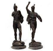 A PAIR OF SPELTER SOLDIERS one a Roman, the other an ancient Britain, each approximately 74cm high