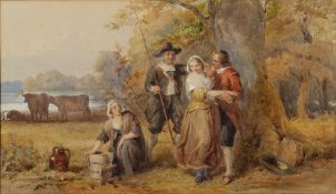 IN THE MANNER OF JOHN ABSOLOM Figures in a rural setting, watercolour, unsigned, 19th century, 27.